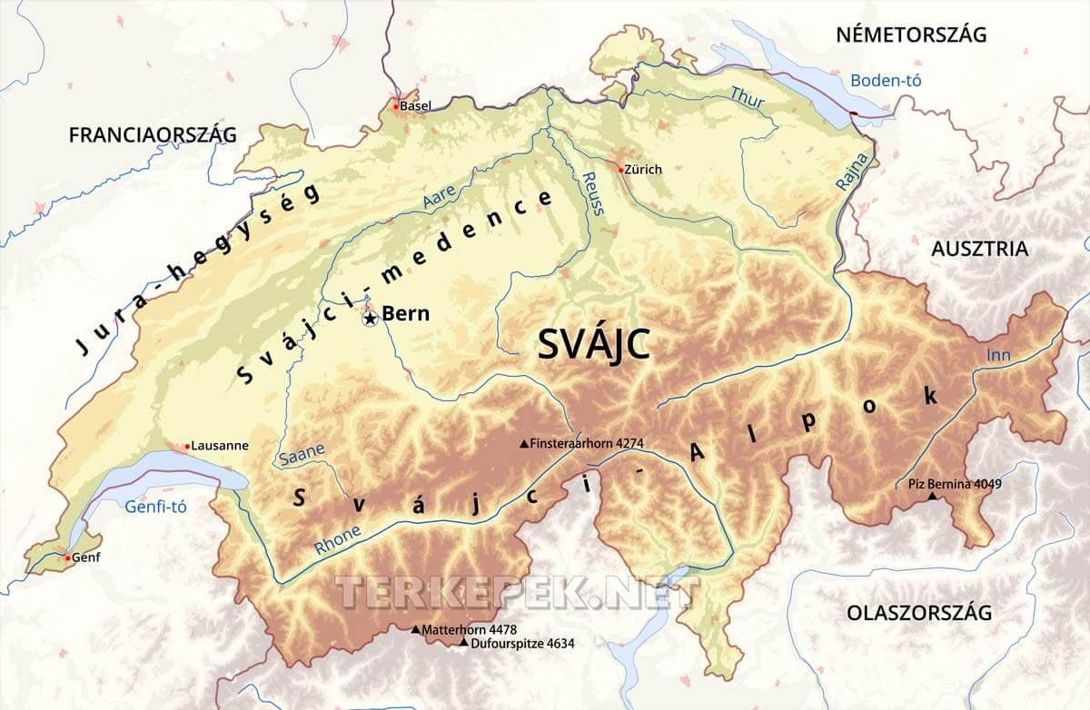alpok domborzati térkép Svájc térképek alpok domborzati térkép